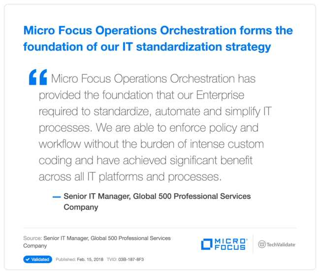 HPE Operations Orchestration forms the foundation of our  IT standardization strategy