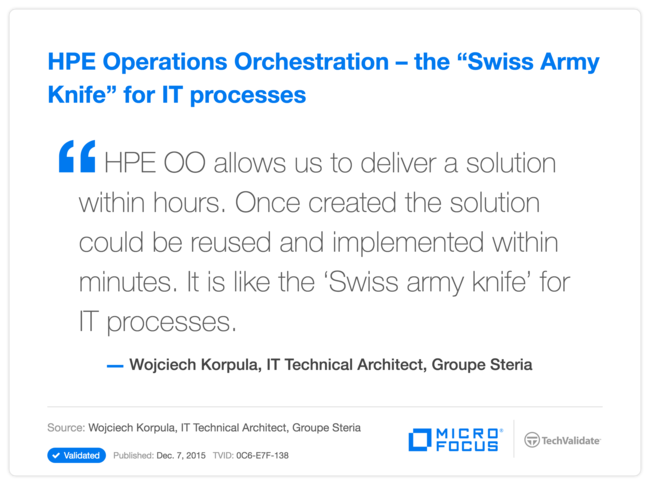 "HPE Operations Orchestration-the ""Swiss Army Knife"" for IT processes"