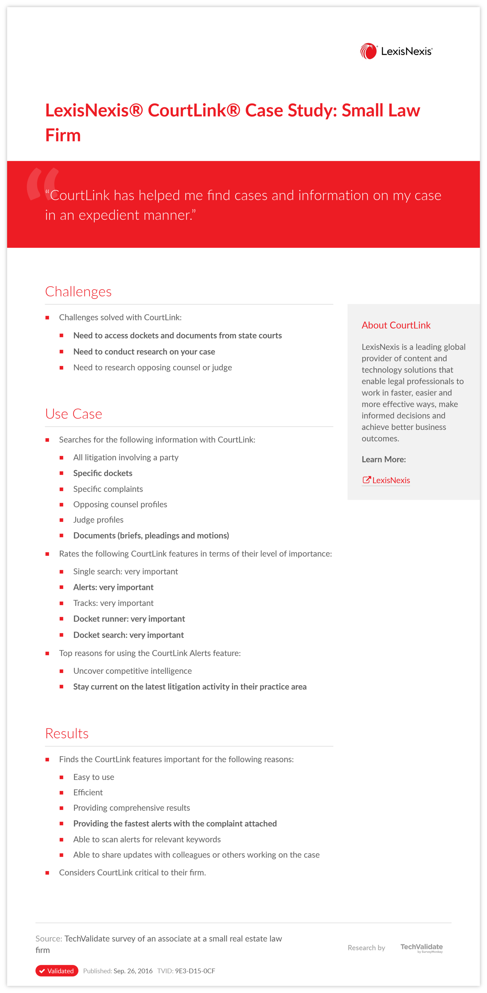 LexisNexis® CourtLink® Case Study: Small Law Firm