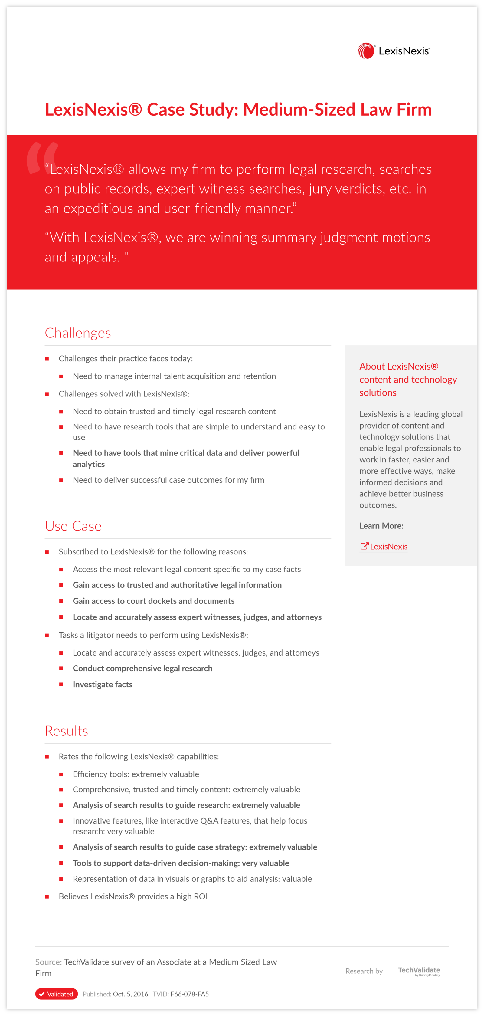 LexisNexis® Case Study: Medium-Sized Law Firm