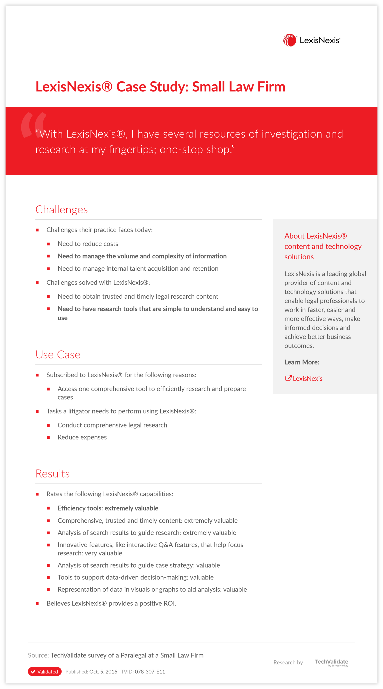LexisNexis® Case Study: Small Law Firm