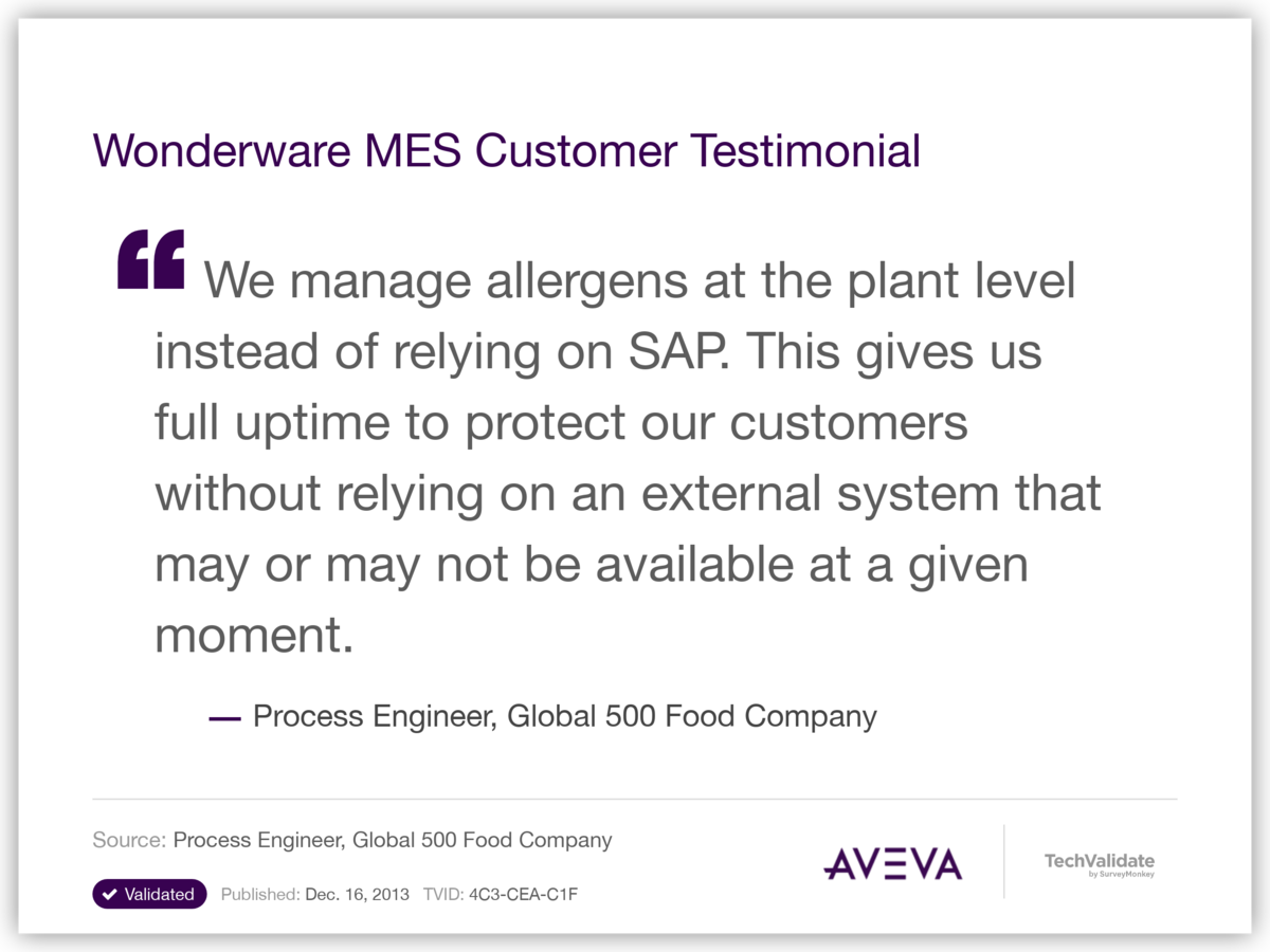 Wonderware MES Customer Testimonial
