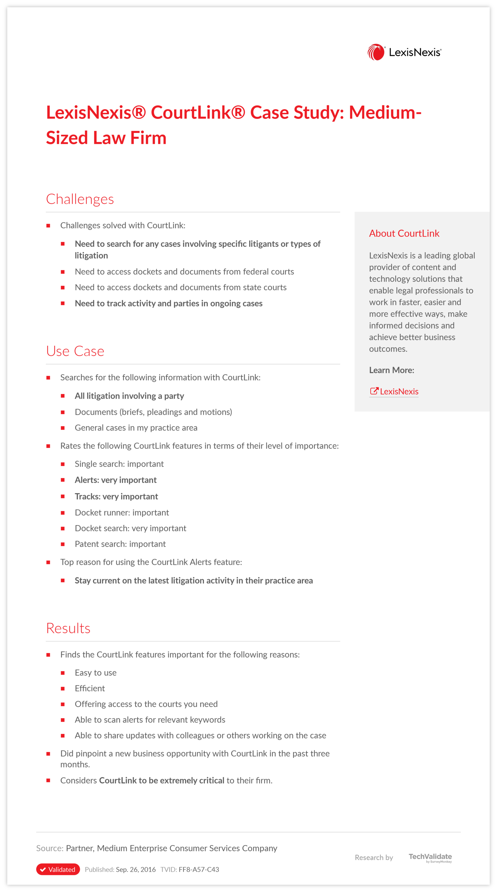 LexisNexis® CourtLink® Case Study: Medium-Sized Law Firm