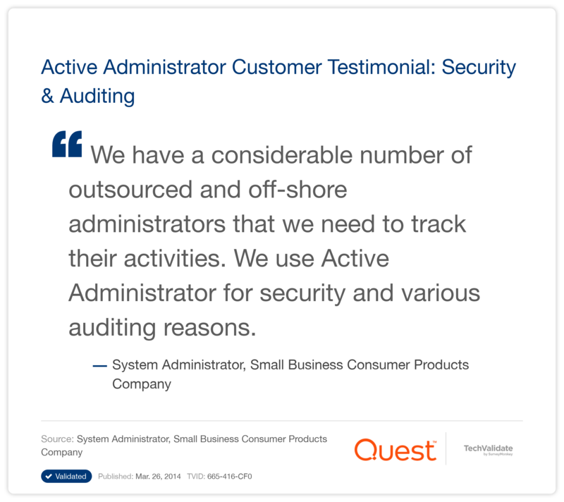 Active Administrator Customer Testimonial: Security & Auditing