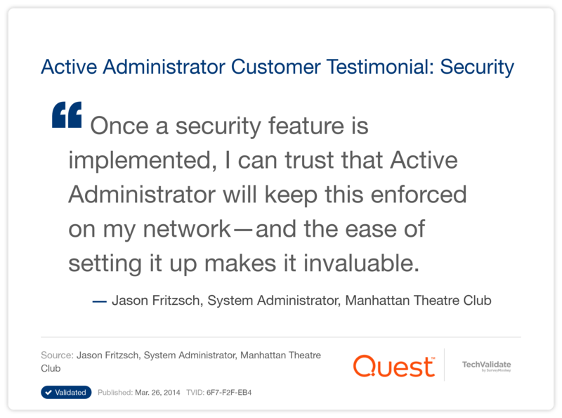 Active Administrator Customer Testimonial: Security