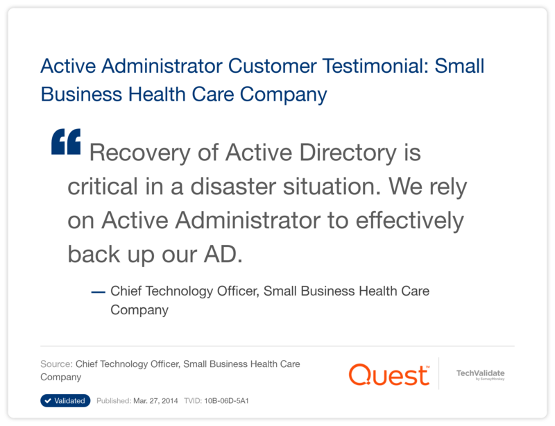 Active Administrator Customer Testimonial: Small Business Health Care Company