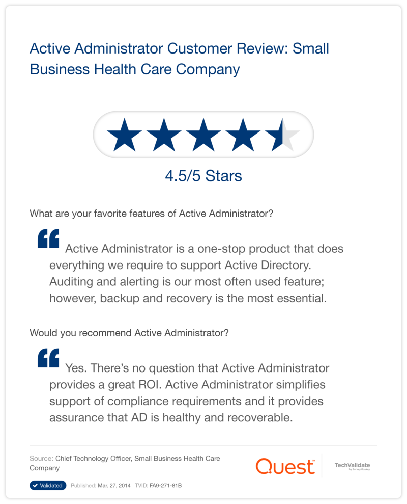 Active Administrator Customer Review: Small Business Health Care Company
