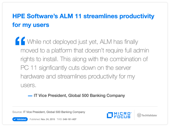 HPE Software's ALM 11 streamlines productivity for my users
