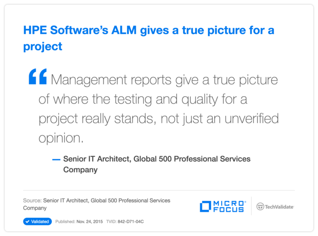 HPE Software's ALM gives a true picture for a project