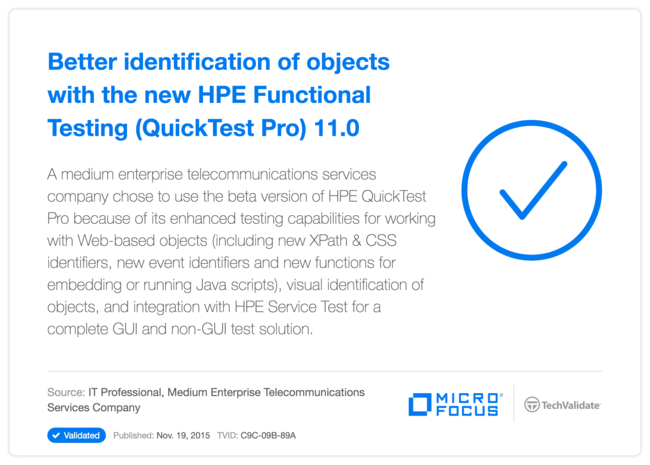 Better identification of objects with the new HPE Functional Testing (QuickTest Pro) 11.0