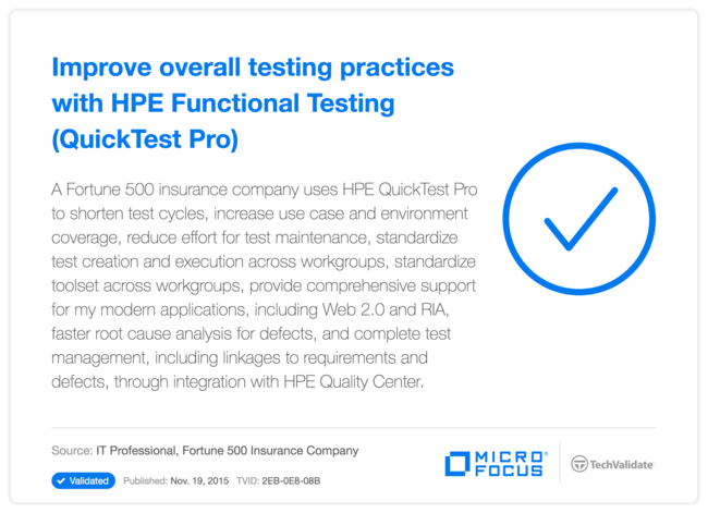 Improve overall testing practices with HPE Functional Testing (QuickTest Pro)
