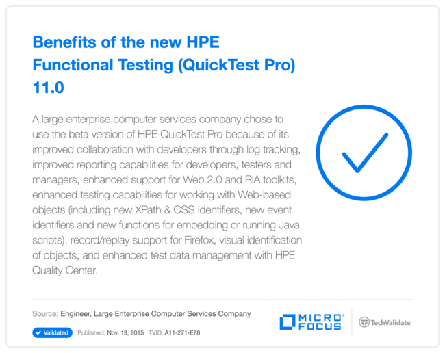 Benefits of the new HPE Functional Testing (QuickTest Pro) 11.0