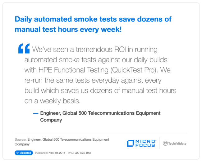 Daily automated smoke tests save dozens of manual test hours every week!