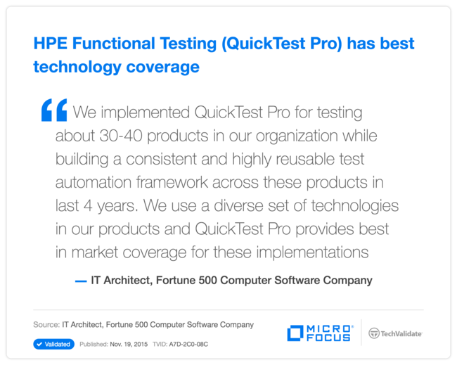 HPE Functional Testing (QuickTest Pro) has best technology coverage