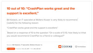 "10 out of 10: ""CrashPlan works great and the support is excellent."""