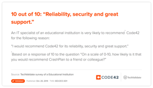 "10 out of 10: ""Reliability, security and great support."""