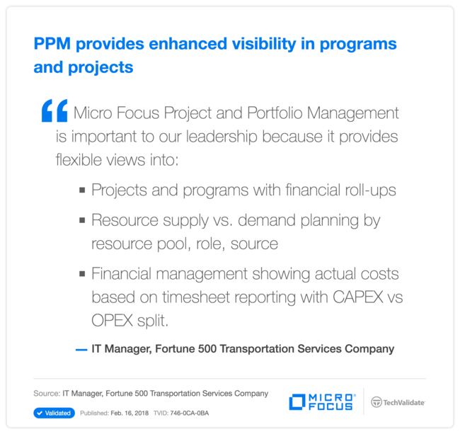 PPM provides enhanced visibility in programs and projects