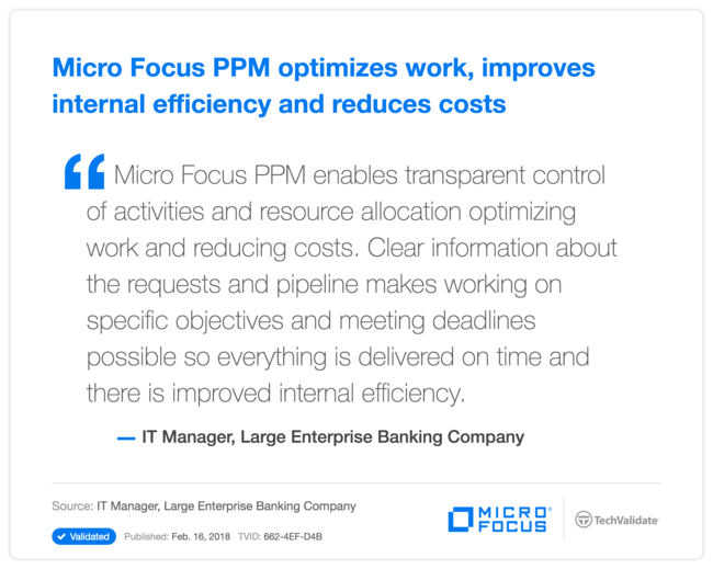 HPE PPM optimizes work, improves internal efficiency and reduces costs