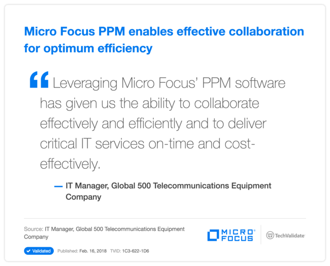 HPE PPM enables effective collaboration for optimum efficiency