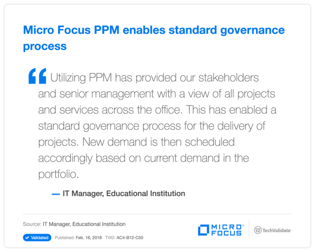 HPE PPM enables standard governance process