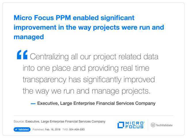 HPE PPM enabled significant improvement in the way projects were run and managed