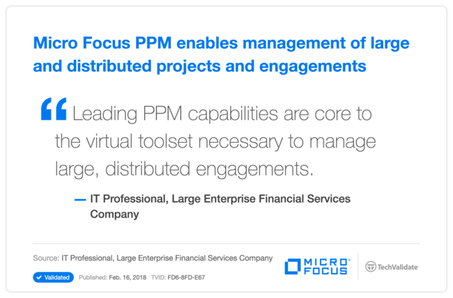 HPE PPM enables management of large and distributed projects and engagements