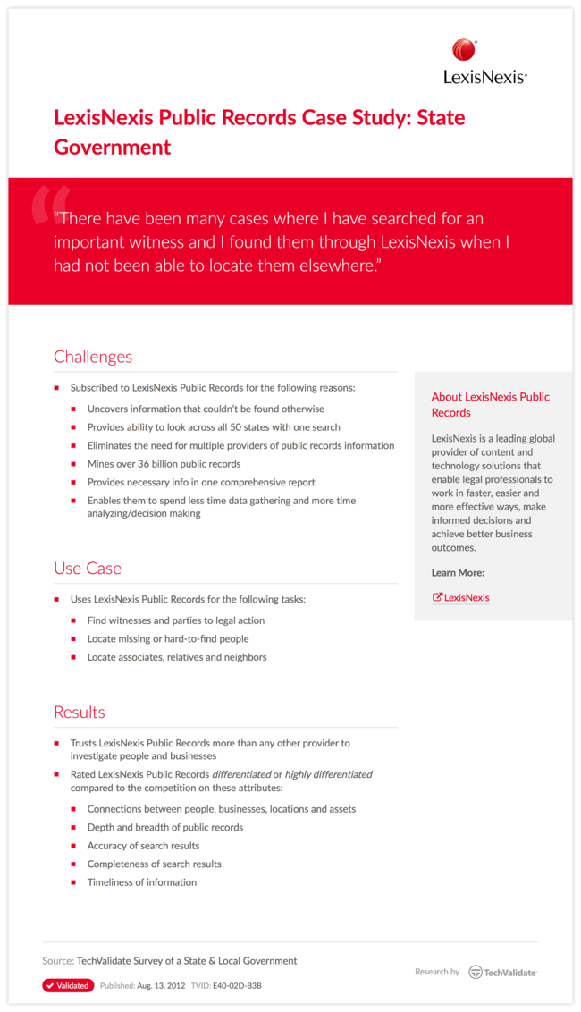 LexisNexis Public Records Case Study: State Government
