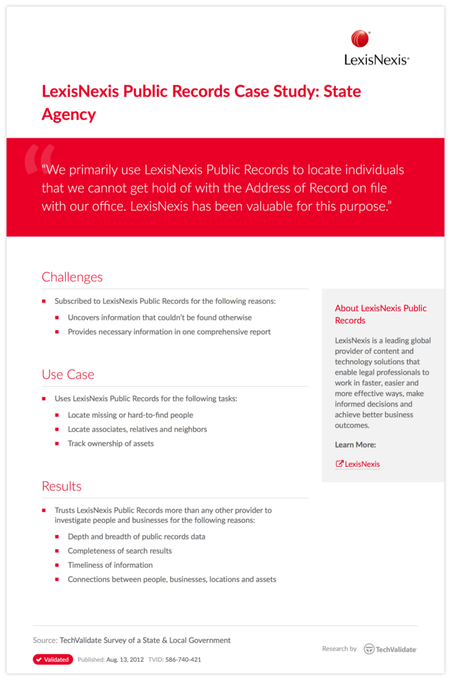 LexisNexis Public Records Case Study: State Agency