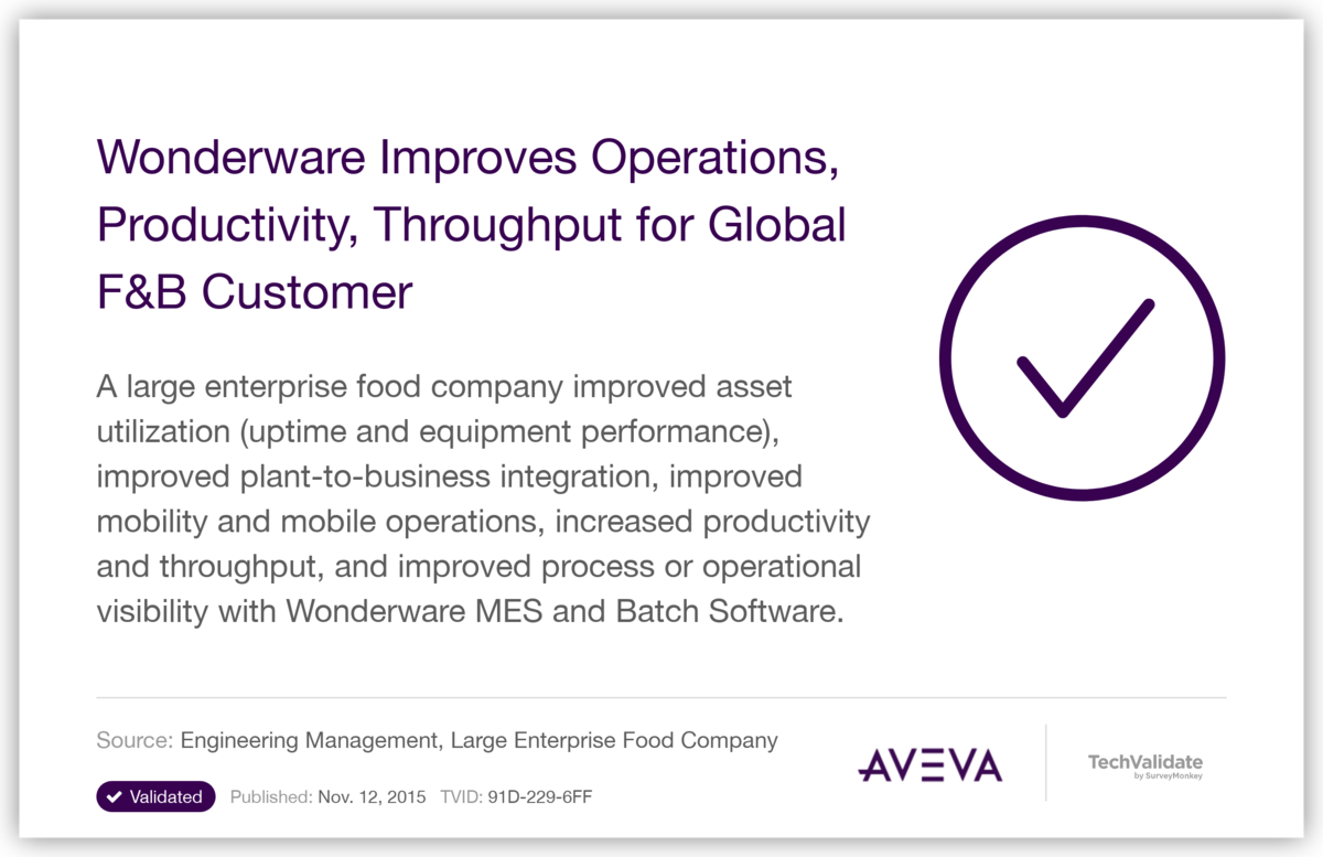 Wonderware  Improves Operations, Productivity, Throughput for Global  F&B Customer