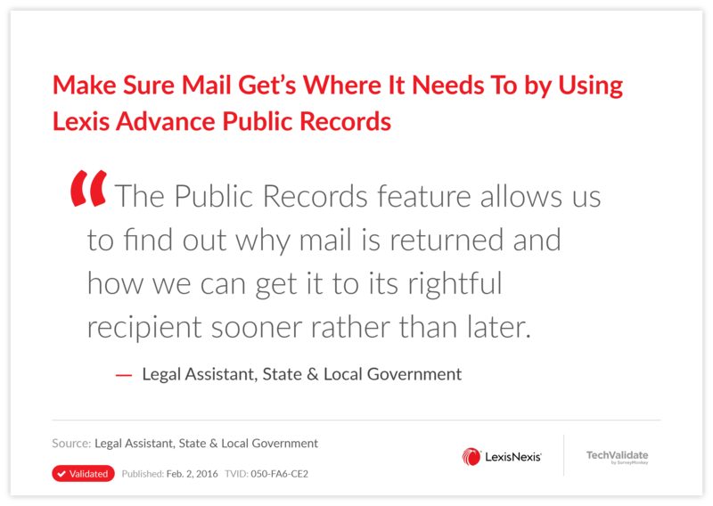 Make Sure Mail Get's Where It Needs To by Using Lexis Advance Public Records
