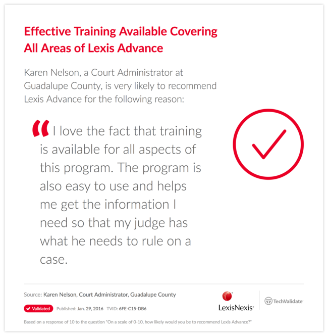 Effective Training Available Covering All Areas of Lexis Advance
