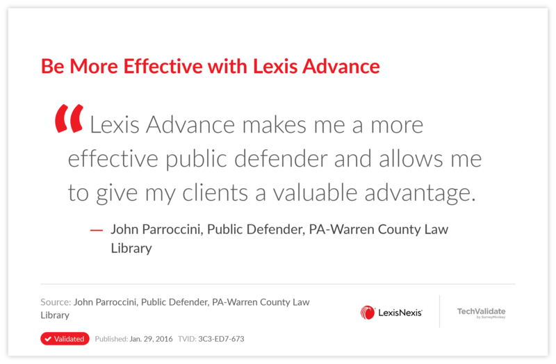 Be More Effective with Lexis Advance