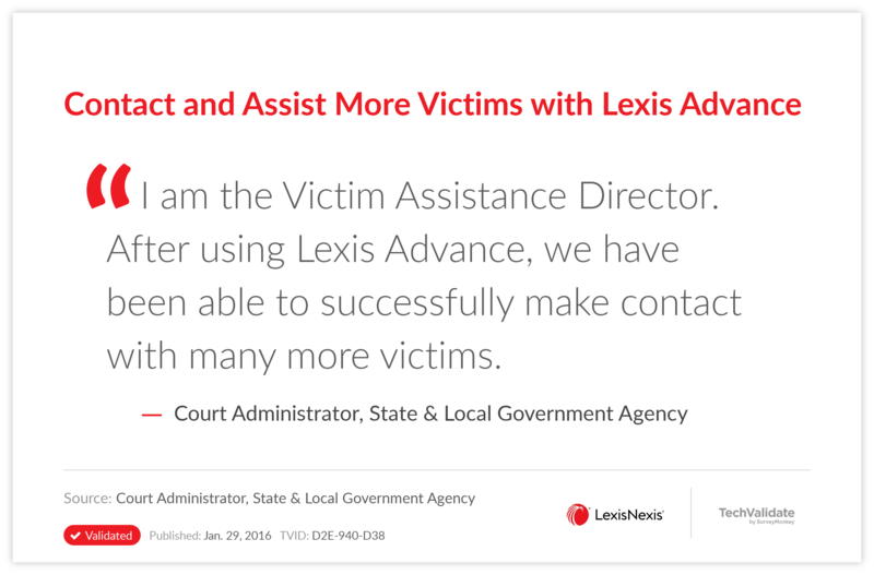 Contact and Assist More Victims with Lexis Advance
