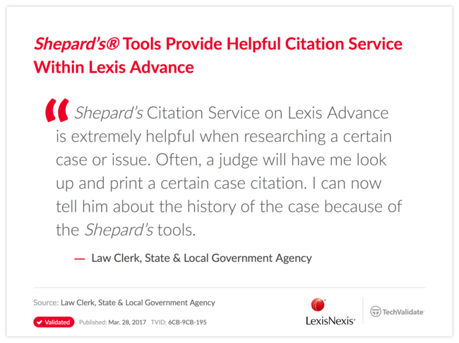 Shepard's Tools Provide Helpful Citation Service Within Lexis Advance