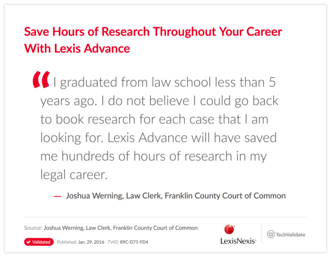 Save Hours of Research Throughout Your Career With Lexis Advance