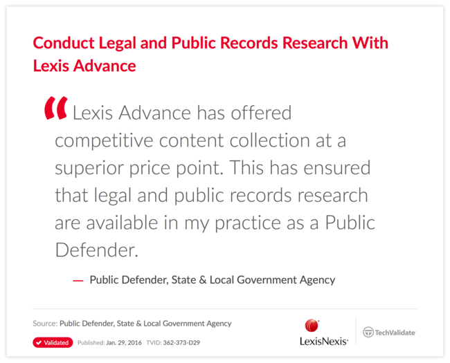 Conduct Legal and Public Records Research With Lexis Advance