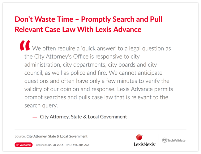 Don't Waste Time-Promptly Search and Pull Relevant Case Law With Lexis Advance