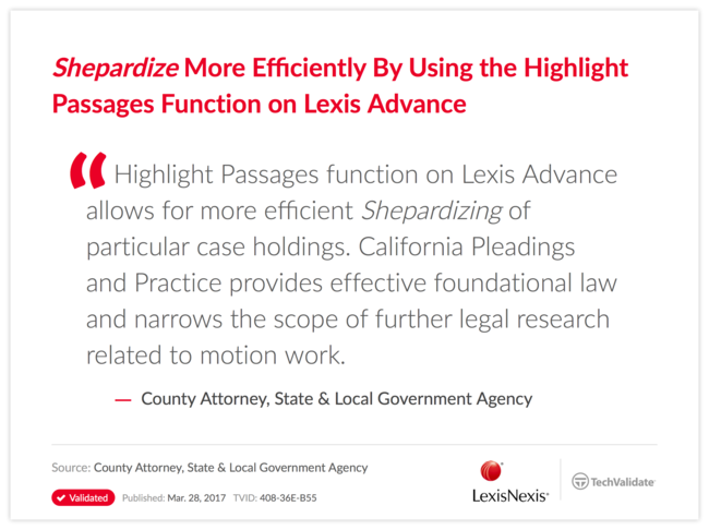 Shepardize More Efficiently By Using the Highlight Passages Function on Lexis Advance
