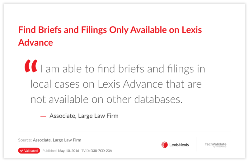 Find Briefs and Filings Only Available on Lexis Advance