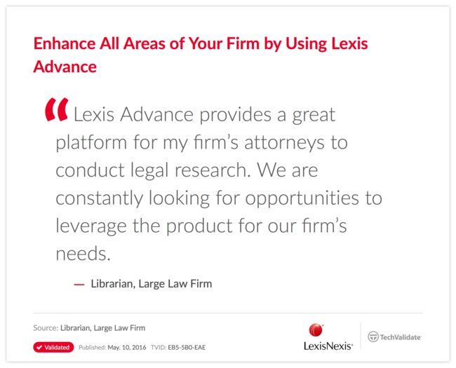 Enhance All Areas of Your Firm by Using Lexis Advance