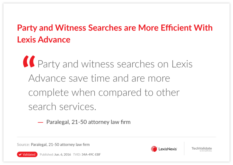 Party and Witness Searches are More Efficient With Lexis Advance