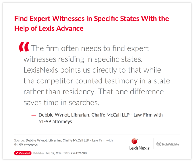 Find Expert Witnesses in Specific States With the Help of Lexis Advance