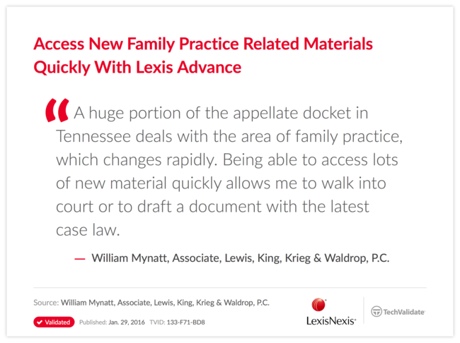Access New Family Practice Related Materials Quickly With Lexis Advance