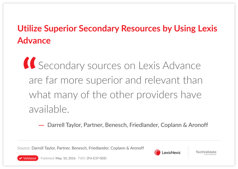 Utilize Superior Secondary Resources by Using Lexis Advance