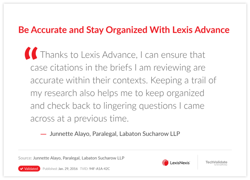 Be Accurate and Stay Organized With Lexis Advance