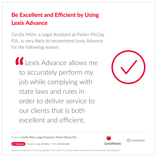 Be Excellent and Efficient by Using Lexis Advance