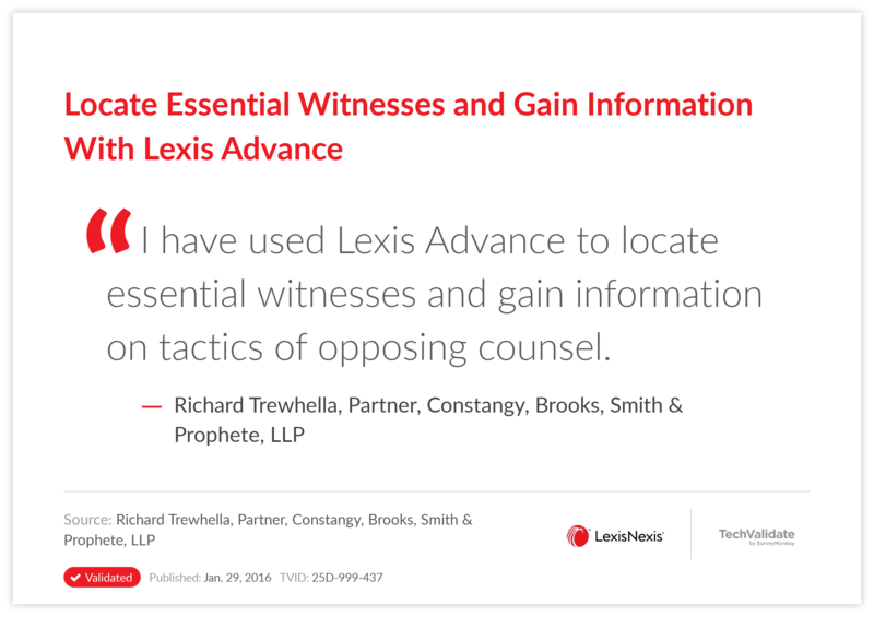 Locate Essential Witnesses and Gain Information With Lexis Advance