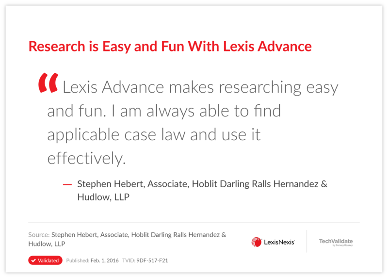 Research is Easy and Fun With Lexis Advance