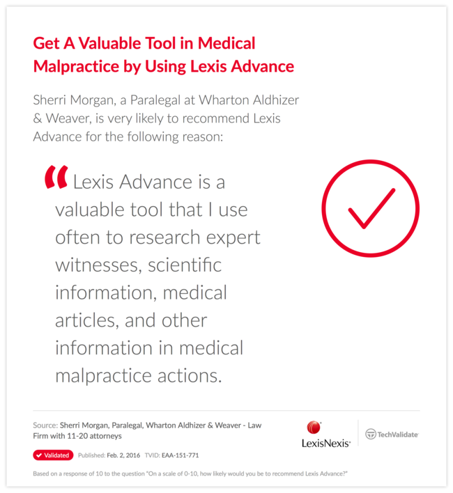 Get A Valuable Tool in Medical Malpractice by Using Lexis Advance
