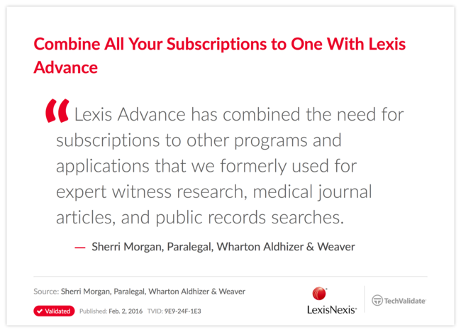 Combine All Your Subscriptions to One With Lexis Advance
